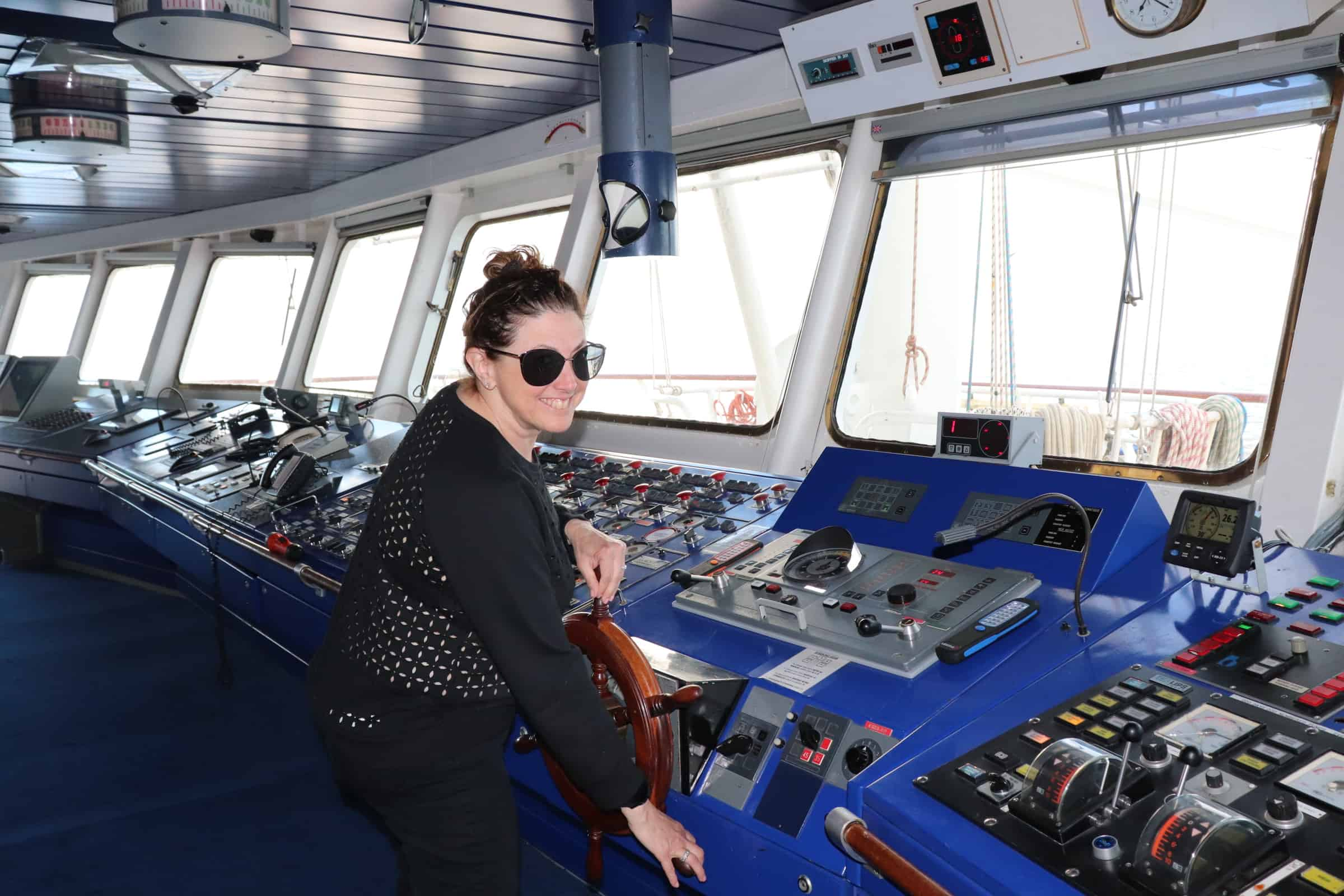 Hilary in the control room of the cruise ship