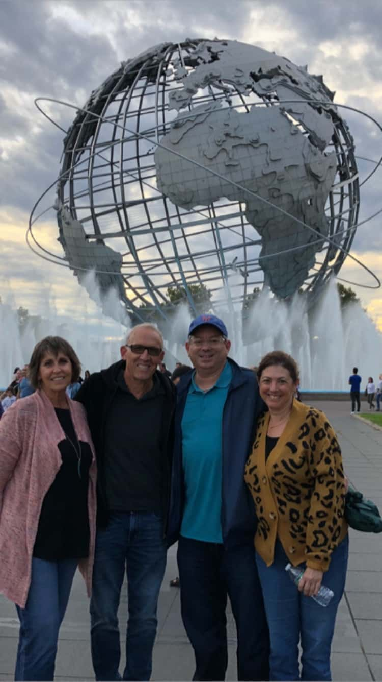 Hilary, her husband and her friends at Flushing Meadows Park