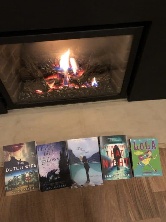 Books in front of the fireplace